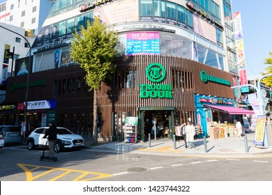 SEOUL, SOUTH KOREA - OCTOBER 21, 2018 : Troubadour Clothing Store at Hongdae(Hongik University) shopping street. Hongdae is a shopping cultural street for young people in Seoul.