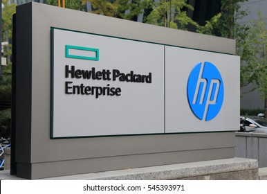 SEOUL SOUTH KOREA - OCTOBER 22, 2016: HP Hewlett Packard. HP Hewlett Packard an American multinational information technology company headquartered in California.