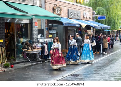 SEOUL, SOUTH KOREA - OCTOBER 23, 2018: Insadong street - the main street of the Insadong area in Seoul. It is a large market for antiques and artworks and a popular shopping area