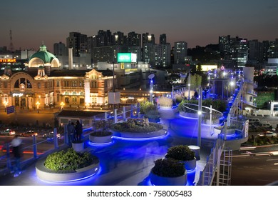 SEOUL, SOUTH KOREA : OCTOBER 23, 2017 - Seoullo or the Seoul Skypark, is an elevated park built from a former highway overpass. It is the latest addition to the tourist landmarks in Seoul city.