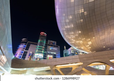 SEOUL, SOUTH KOREA - OCTOBER 24, 2018 : Modern architecture of the Dongdaemun Design Plaza (DDP) at night in Seoul city, South Korea.