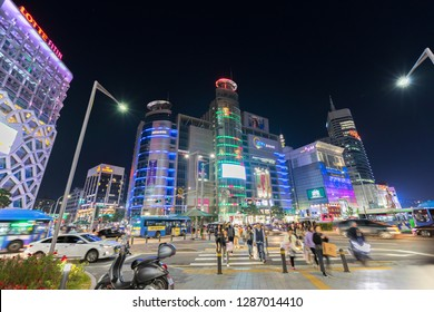 Seoul, South Korea - October 24, 2019: Korea at night colorful city in Dongdaemun shopping area in Seoul, South Korea.