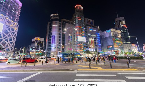 Seoul, South Korea - October 24, 2018: Korea at night colorful city in Dongdaemun shopping area in Seoul, South Korea.