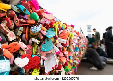 Seoul, South Korea - October 25, 2018:Master key of love at N Seoul Tower on Namsan Mountain and landmark, People believe that the locked key will keep their forever love. Seoul, South of Korea
