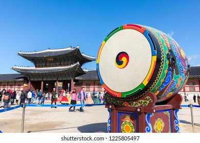 Seoul, South Korea - October 27, 2018: A traditional Korean drum set at the square of the Gyeongbokgung Palace in Seoul, South Korea