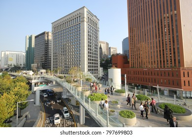 SEOUL, SOUTH KOREA - OCTOBER 27, 2017: Seoullo 7017 skypark, a former elevated traffic road, on October 27, 2017 in Seoul.