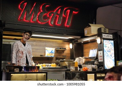 SEOUL, SOUTH KOREA – OCTOBER 28, 2017: Halloween meat food truck with a zombie cook on the Dongdaemun Design Plaza on October 28, 2017 in Seoul.