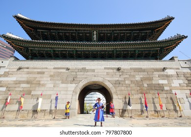 SEOUL, SOUTH KOREA - OCTOBER 28, 2017: Sungnyemun, the South Gate of Seoul, erected in 1398 by King Taejo, founder of the Joseon Dynasty, on October 28, 2017 in Seoul.