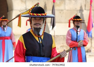 SEOUL, SOUTH KOREA - OCTOBER 28, 2017: Gate Guards performance at the Sungnyemun Gate, Korea's National Treasure No. 1, on October 28, 2017 in Seoul.