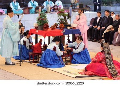 SEOUL, SOUTH KOREA - OCTOBER 29, 2017: Traditional Korean wedding with bride and groom wearing hanbok, a traditional Korean dress specially designed for the ceremony on October 29, 2017 in Seoul.