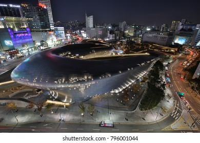 SEOUL, SOUTH KOREA - OCTOBER 29, 2017: Dongdaemun Design Plaza at night and skyline of South Korea's fashion hub and popular tourist destination Dongdaemun on October 29, 2017 in Seoul.