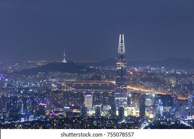 SEOUL, SOUTH KOREA - OCTOBER 3: View of Seoul with Lotte World Mall and Seoul tower at night Photo taken on october 3, 2017 in Seoul South Korea