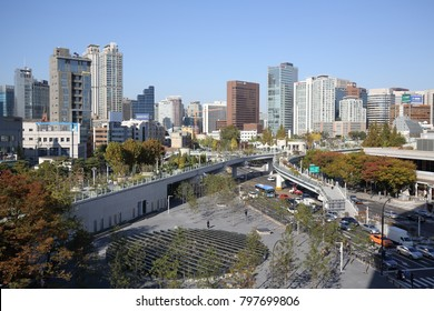 SEOUL, SOUTH KOREA - OCTOBER 30, 2017: Seoullo 7017 skypark, a former elevated traffic road, on October 30, 2017 in Seoul.