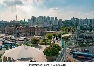 Seoul, South Korea - October 4, 2019 : Seoullo 7017, Seoul Station