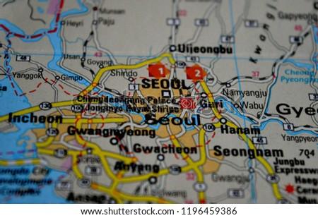 Seoul South Korea On Map Stock Photo Edit Now 1196459386