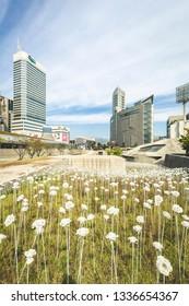 Seoul / South Korea - Sep 24 2015: Dongdaemun Design Plaza (DDP) iconic atypical public architecture by Zaha Hadid