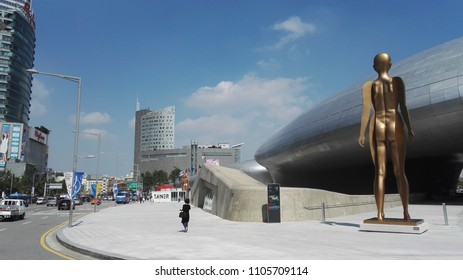 Seoul, South Korea  - September 12, 2017: Front view of Dongdaemun Design Plaza (DDP). The newest and most iconic landmark of the Korean design industry with modern interior curve shape architectural.