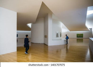 Seoul, South Korea, September 14th, 2017 : The visitor being enjoy the painting in MIMESIS Art Museum, by Alvaro Siza