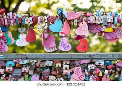 Seoul, South Korea - September 17, 2018 : Vareity of locked key at N Seoul tower on the Namsan mountain that people believe they will have the forever love if write the couple name on it