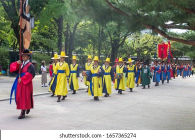 SEOUL, SOUTH KOREA, SEPTEMBER 17, 2019: The Changing of the Royal Guard, in front of Daehanmun (Gate) of Deoksugung Palace