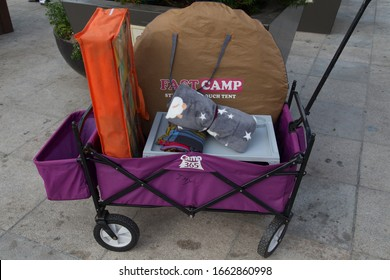 SEOUL, SOUTH KOREA, SEPTEMBER 17, 2019: camping and picnic equipment rental at Hangang Park