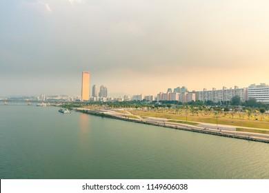 Seoul, Seoul / South Korea - September 25 2015: Hangang River Park evening landscape scenic view of river bank public recreational space, Seoul