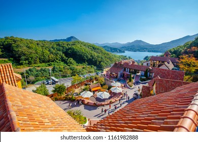 Seoul, Seoul / South Korea - September 27 2015: Petite France, aerial view of built landscape, French-style theme park that was constructed in July 2008 in Gyeonggi Province, South Korea