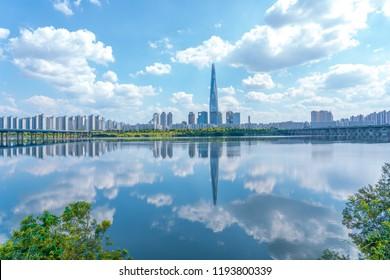 SEOUL, SOUTH KOREA SEPTEMBER 9,2018:Beautiful lotte world tower at HANGANG RIVER in Seoul, South Korea.