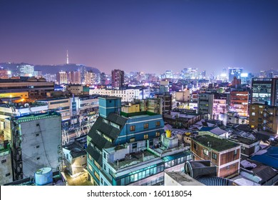 Seoul, South Korea with Seoul Tower in the distance