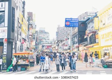 Seoul , South Korea-April 30,2018:  Many people shopping and tourism at hongdae shopping street