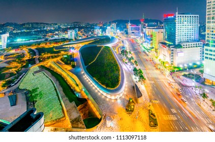 SEOUL, SOUTH KOREA-AUG.5:Aerial shot of the Dongdaemun Design Plaza (DDP) at night, on August 5,2016
