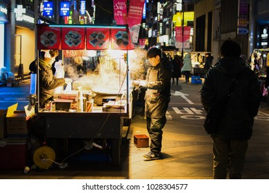 seoul /south korea-Jan2018: People spend on shopping at Myeong-dong Market during winter.Jan 18, 2018