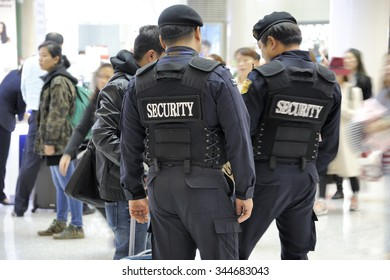 SEOUL, SOUTH KOREA-NOVEMBER 16: Airport security, police at Seoul Incheon International Airport.Taken with selective focus.November 16, 2015 Seoul, South Korea