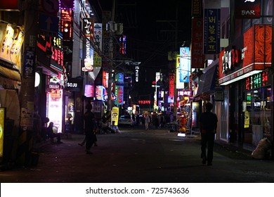 SEOUL, SOUTH KOREA-SEPTEMBER 22: The bright display of  business establishments lights up a street on September 22, 2016 in Seoul, South Korea
