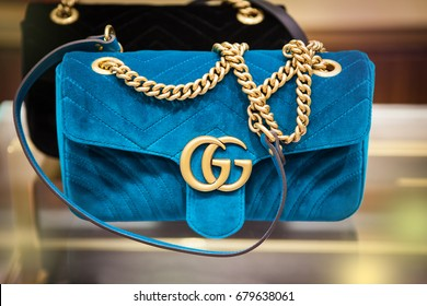 seoul, south republic korea, july 9, 2017, blue velvet Gucci bag in gucci store