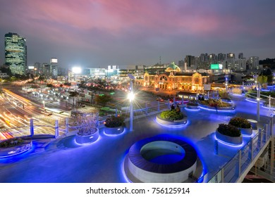 Seoul Station Seoullo 7017 Project turn a highway into a pedestrian walkway in Seoul South Korea.
