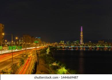 Seoul Subway and Seoul City Skyline at Han river Seoul, South korea.
