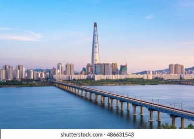 Seoul Subway and Seoul City Skyline, South korea