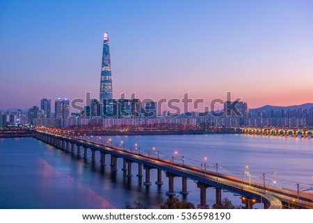 Seoul Subway and Lotte Tower at Night, South korea