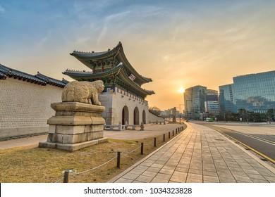 Seoul sunrise city at Gwanghwamun Gate, Seoul, South Korea (Translation : Gwanghwamun name of the gate)