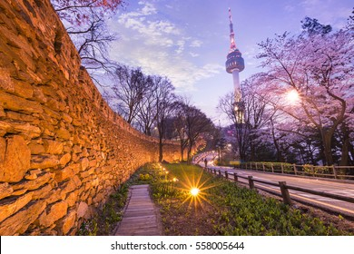 seoul tower in seoul city at night view in spring with cherry blossom tree and old wall with light, south korea.