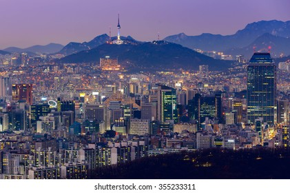 Seoul Tower and Downtown skyline in Seoul, South Korea