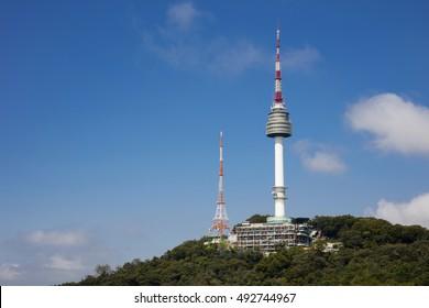 Seoul tower Located on Namsan Mountain in Seoul, South Korea.