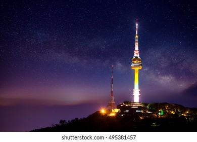 Seoul tower with Milky way at night.Namsan Mountain in korea