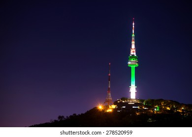 Seoul tower at night.Namsan Mountain in korea