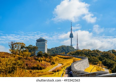 Seoul Tower and red autumn at Namsan mountain in South Korea.