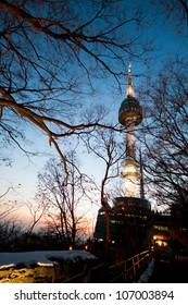 Seoul Tower in twilight