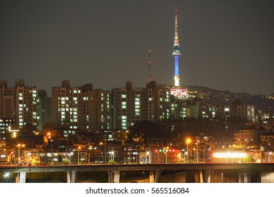 Seoul tower view from rainbow bridge