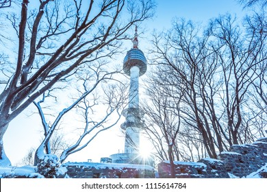 Seoul Tower in winter at Namsan mountain, Seoul, South Korea.