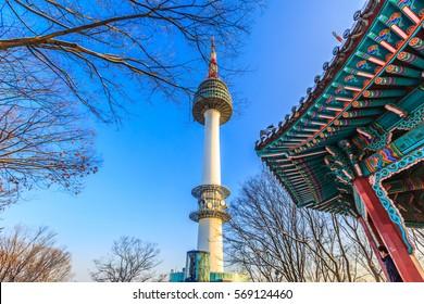 Seoul Tower in winter at Namsan mountain, Seoul, South Korea